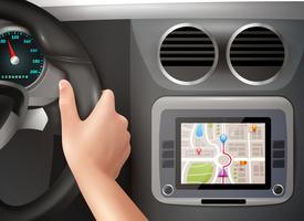 GPS-navigatie in auto vector