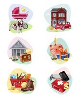 Financiële kosten Icon Set vector