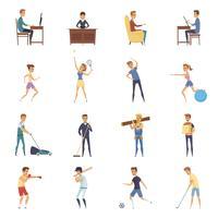 Actieve levensstijl karakter iconen