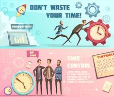 time management retro cartoon banners