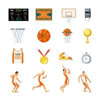 Basketbal orthogonale pictogrammen instellen vector