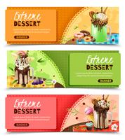 Extreme Rich Dessert horizontale banners instellen vector