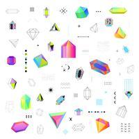 Veelhoekige kristallen pictogrammen grote reeks vector