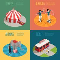 Circus isometrische 2x2 ontwerpconcept