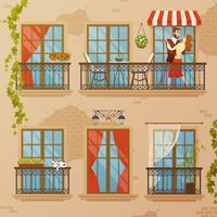 Klassieke venster balkons samenstelling vector