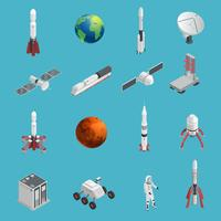 3D-raket Space Icon Set