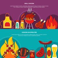 Grill Chiken en koken op Open vuur plat vector