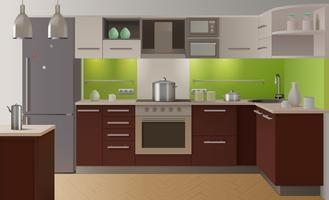 Gekleurd keukeninterieur vector