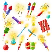 Pyrotechniek Vuurwerk Cracker Sparkler Kleurrijke set vector