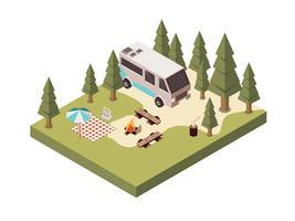 Camping in bos isometrisch ontwerp vector