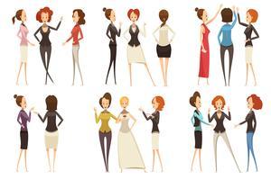 Groepen ondernemers cartoon stijlenset