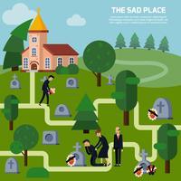 Begraafplaats vlakke stijl illustratie
