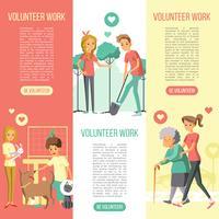 Vrijwilligers werken verticale banners set vector
