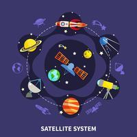 Satelliet systeemconcept vector