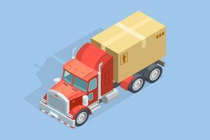 Zware vrachtwagen isometrische sjabloon vector