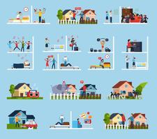 Conflicten met buren Icons Set