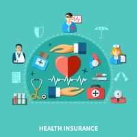 Medische verzekering platte concept vector