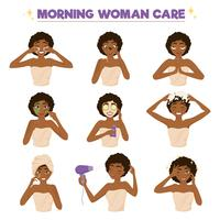 Afro Amerikaanse vrouw ochtend routine Icon Set