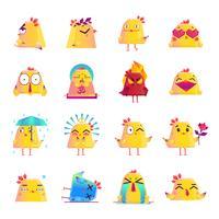 Kip stripfiguur iconen grote reeks vector