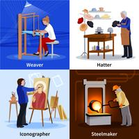 Contemporary Craftspeople 4 Flat Icons Square vector