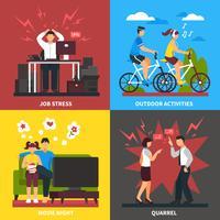 Stress en ontspanning platte ontwerpconcept