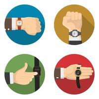 Mannen horloges 4 ronde plat pictogrammen vector
