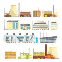 Industriële Eco afval oplossingen Vlakke pictogrammen collectie