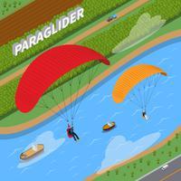 Paraglider isometrische illustratie vector