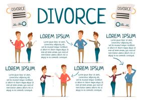 Huwelijk en scheiding Infographics vector