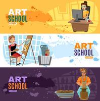 kunst school banners instellen vector