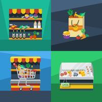 Supermarkt 2 x 2 platte ontwerpconcept vector