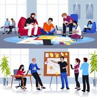Mensen die werken in vlakke teamsamenstellingen vector