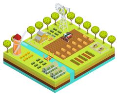 Gekleurde boerderij isometrisch