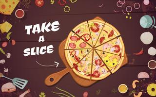 Reclame voor pizza Cartoon afbeelding