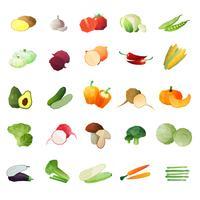 Veelhoekige groenten Icon Set