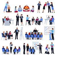 Coaching Mentorschap Discipelschap Platte Icons Set vector