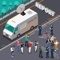 Reportage van moord scène isometrische illustratie