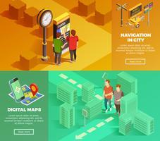 Stad Navigatie Isometrische Banners vector