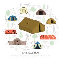 Camping Tenten Selectie Compositie Advertentie Poster vector