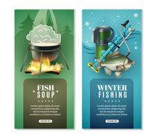 Winter vissen 2 verticale Banners Set