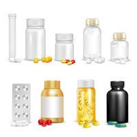 3D-vitaminen en verpakkingsset vector