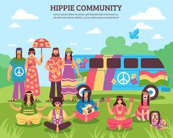 Hippie gemeenschap buiten samenstelling
