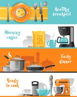 Keukengereedschap Horizontale Banners Collection vector