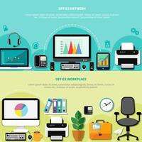 Horizontale banners op kantoor vector