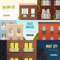 Balkon huis banners instellen vector