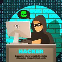 Hacker in de buurt van computerillustratie
