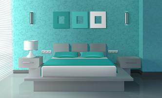 Modern slaapkamerinterieur vector
