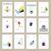 Veelhoekige kristallen Mini Banners-collectie vector