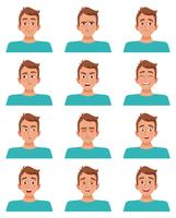 Man gezichtsuitdrukkingen instellen vector