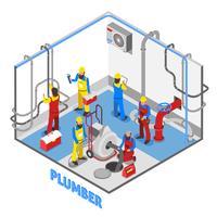 Loodgieter isometrische mensen samenstelling